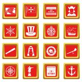 Columbus Day icons set red Royalty Free Stock Photos