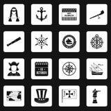 Columbus Day icons set squares vector Stock Photos