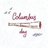 Columbus Day Illustratie met het hand-drawn van letters voorzien en telesco Stock Afbeelding