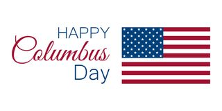 Columbus Day, o descobridor de América, bandeira dos EUA e continente, bandeira do feriado Vetor Fotos de Stock