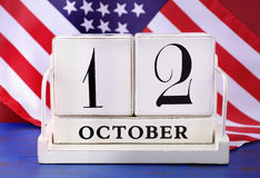Columbus Day October 12 kalender Stock Afbeeldingen