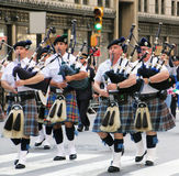 Columbus Day Parade. Scottish pipe band marching on fifth Stock Photography