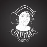 Columbus day portrait calligraphy. Chalk on board Stock Images