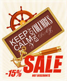 Columbus day poster. Vector illustration. Sale. Hot discounts Royalty Free Stock Image