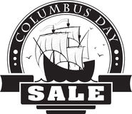 Columbus day sale decorative label, card or sticker with sail sh. Ip for your design Royalty Free Stock Photo