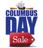 Columbus Day Sale Design Stock Photo