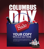 Columbus Day Sale shopping bag background Royalty Free Stock Images