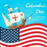Columbus Day Ship Holiday Poster felice si è unito Immagini Stock