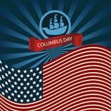 Columbus Day Ship Holiday Poster feliz Estados Unidos América Fla Fotos de archivo libres de regalías