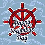 Columbus day ship wheel concept background, hand drawn style royalty free illustration