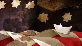 Columbus Day. Stars and Stripes and Chart. Columbus Day. Stars and Stripes Paper Boat and Chart Royalty Free Stock Photos