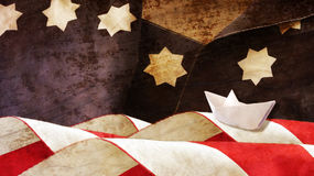Columbus Day. Stars and Stripes. And Paper Boat Royalty Free Stock Photography