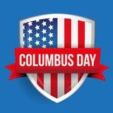 Columbus Day on USA flag shield Stock Photos