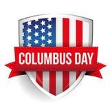 Columbus Day on USA flag shield Royalty Free Stock Image