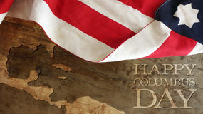 Columbus Day. Usa Flag and Wood. Happy Columbus Day Royalty Free Stock Photos