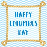 Columbus Day vector background. Anniversary of Christopher Columbus`s arrival in the Americas. Rope frame with knots and Vector Illustration