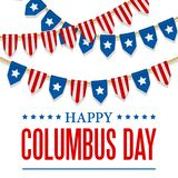 Columbus Day vector background. USA patriotic template with text, stripes and stars for posters, decoration in colors of Stock Illustration
