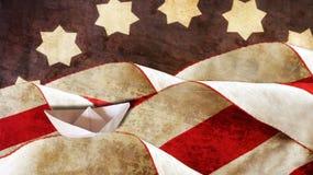 Columbus Day Vlag en Golven royalty-vrije stock afbeelding