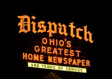 The Columbus Dispatch. The neon sign over the headquarters of The Columbus Dispatch, the main newspaper for Ohio's state capital Stock Photo