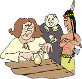 Columbus and egg. Illustration of Columbus trying to make egg standing Royalty Free Stock Images