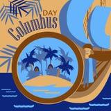 Columbus looking through a telescope. Columbus looking through a telescop.Columbus Day Man with Telescope Vector Stock Photos