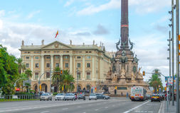 The Columbus Monument & Army building in coastal Barcelona. Stock Photo