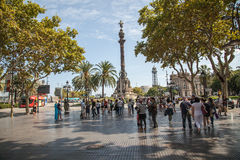 Columbus Monument in Barcelona stock photos