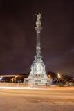 Columbus Monument en la noche en Barcelona foto de archivo libre de regalías