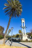 Columbus Monument in Jardines de Murillo, Seville, Spain Royalty Free Stock Photography