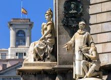 Columbus Monument te de waterkant in Barcelona, Catalonië, Spanje Royalty-vrije Stock Foto