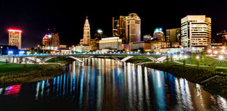 Columbus Night Skyline Royaltyfria Bilder