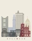Columbus OH skyline poster. Columbus skyline poster in editable vector file Stock Photos