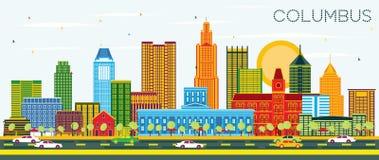Columbus Ohio City Skyline avec les bâtiments de couleur et le ciel bleu illustration de vecteur