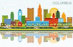 Columbus Ohio City Skyline avec les bâtiments de couleur, le ciel bleu et le Re illustration de vecteur