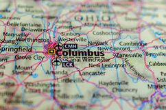 Columbus, Ohio on map. Close up shot of Columbus, Ohio on map royalty free stock images