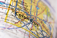 Columbus, Ohio on map. Closeup of Columbus, Ohio on a road map of the United States stock photography