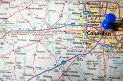 Columbus, Ohio. A map of Columbus, Ohio marked with a push pin royalty free stock image