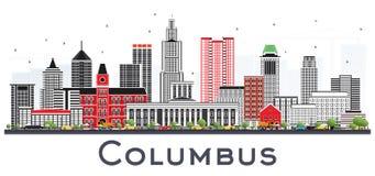 Columbus Ohio Skyline avec Gray Buildings Isolated sur le blanc illustration de vecteur