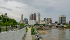 Columbus Ohio skyline and downtown streets in late afternoon Stock Images