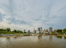 Columbus Ohio skyline and downtown streets in late afternoon Royalty Free Stock Photos