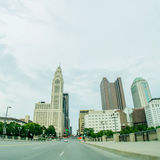 Columbus Ohio skyline and downtown streets in late afternoon Stock Photography