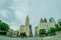 Columbus Ohio skyline and downtown streets in late afternoon Royalty Free Stock Image