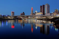 Columbus Ohio skyline at dusk. Scioto River and Columbus Ohio skyline at John W. Galbreath Bicentennial Park at dusk Stock Photography