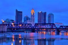 Columbus Ohio Skyline at Night. Columbus, Ohio cityscape overlooking the Scioto River at night royalty free stock images