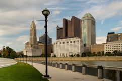 Columbus  Ohio  Skyline with Streetlights Royalty Free Stock Image