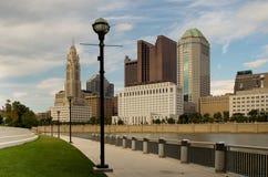 Columbus Ohio Skyline. Columbus Ohio with street lights on Scioto River Royalty Free Stock Photography