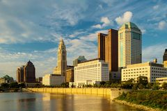 Columbus Ohio at Sunset. With pretty clouds Royalty Free Stock Photo