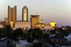 Columbus Ohio at Twilight. One view of Columbus, Ohio as the sun is going down with golden light and shadows Stock Image