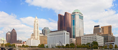 Columbus Ohio, USA. Downtown buildings financial center on a beautiful summer day with clouds Royalty Free Stock Photos