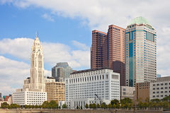 Columbus Ohio USA, skyline of business buildings. And banks in the city downtown financial center on a sunny day with blue sky and clouds Royalty Free Stock Photo